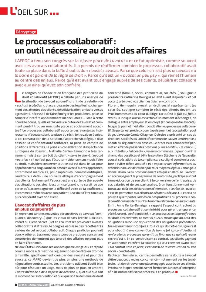 Resolutions Avocats - Le processus collaboratif, un outil nécessaire au droit des affaires